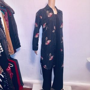 Women's Black Floral Cardigan Coat SizeS